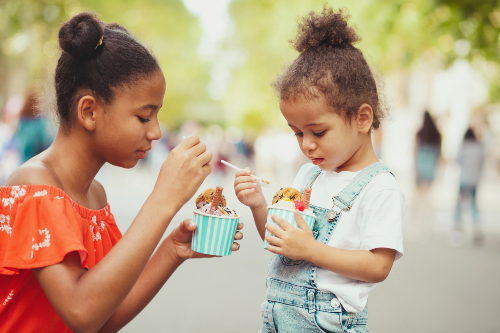 young girls eating ice cream